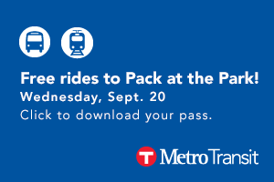 Free rides to Pack at the Park! Tuesday, Sept. 19. Click to download your pass from MetroTransit.